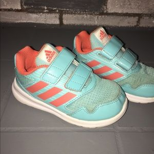 Adidas Teal & Coral Preschool Girls Shoes Sz 8K
